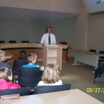 Mr. Mathews sharing information about our community government.