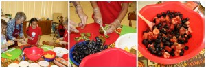 "Making a fruit salad with a variety of different colored fruits during our ""Go Wild"" class."